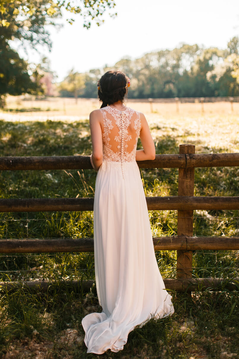 Wedding dress with feature back from Chilham Bridal bride Amy