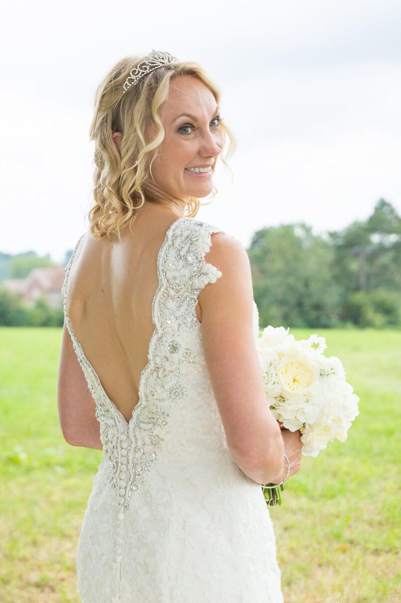 Justin Alexander wedding dress with open back