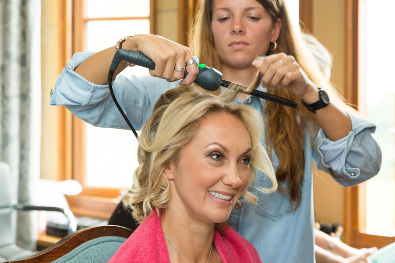 Chilham Bridal bride Carine getting her hair done before her wedding