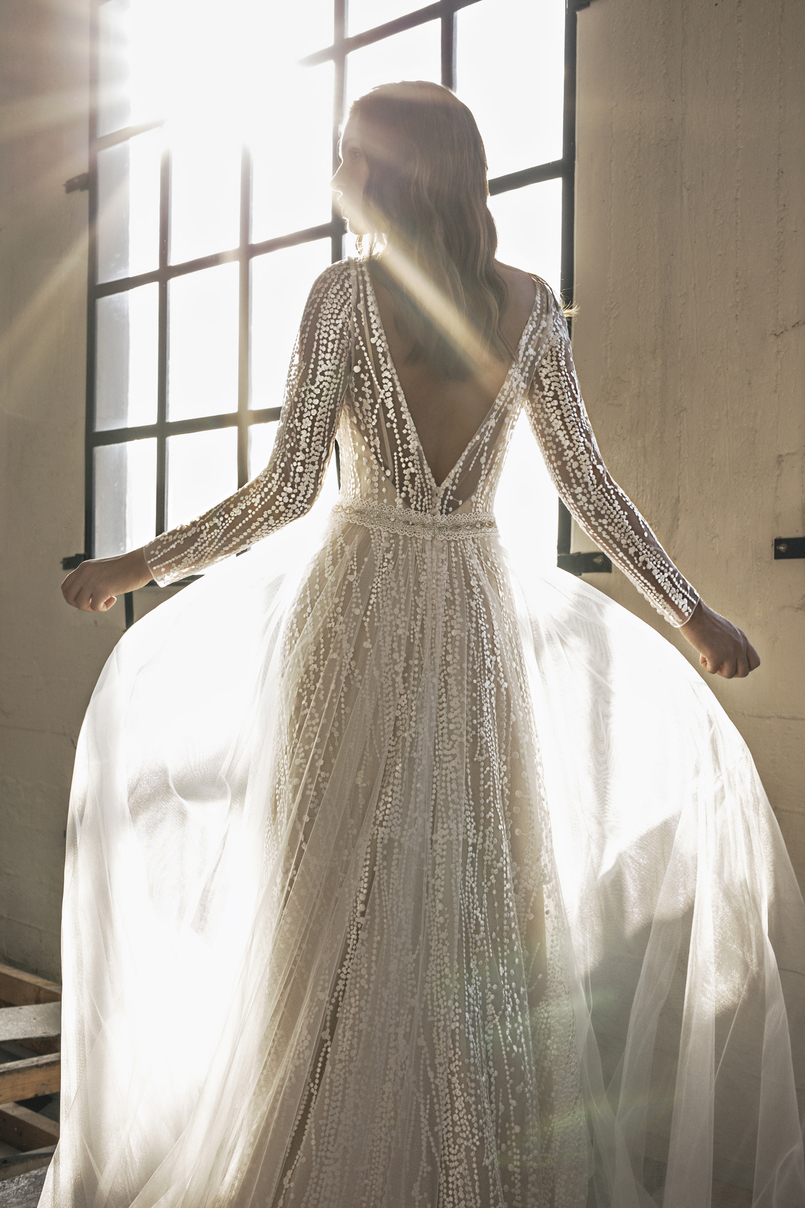Back of Elena: The Boho Ex-Sample Wedding Dress from Le Papillon by Modeca Bridal