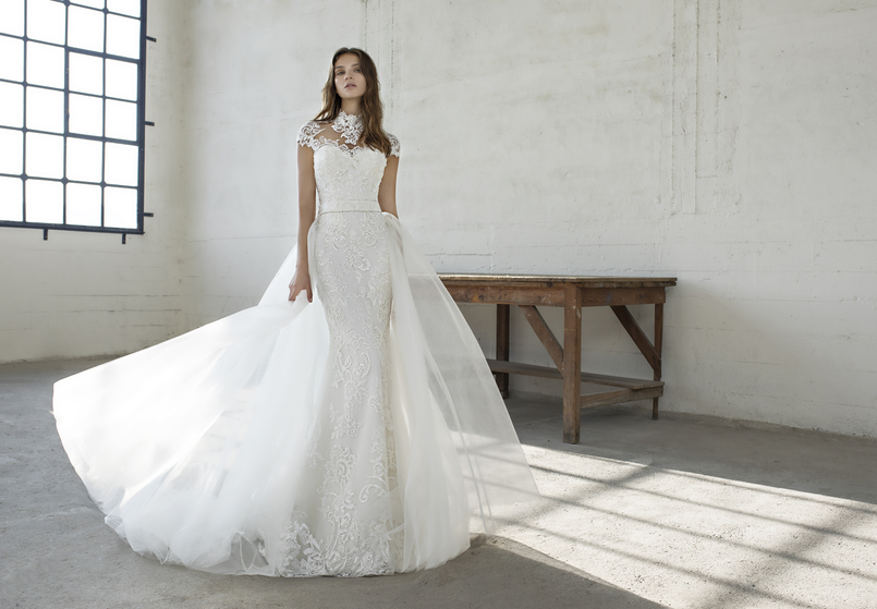 Sleek and sophisticated ex-sample Modeca Bridal wedding dress