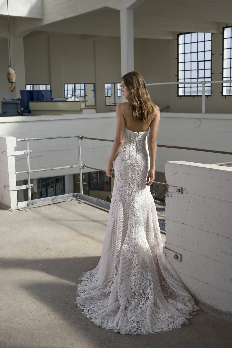 The back of the unique ex-sample Modeca Bridal wedding dress at Chilham Bridal