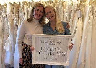 Bride choosing her wedding dress at Maidstone wedding dress shop